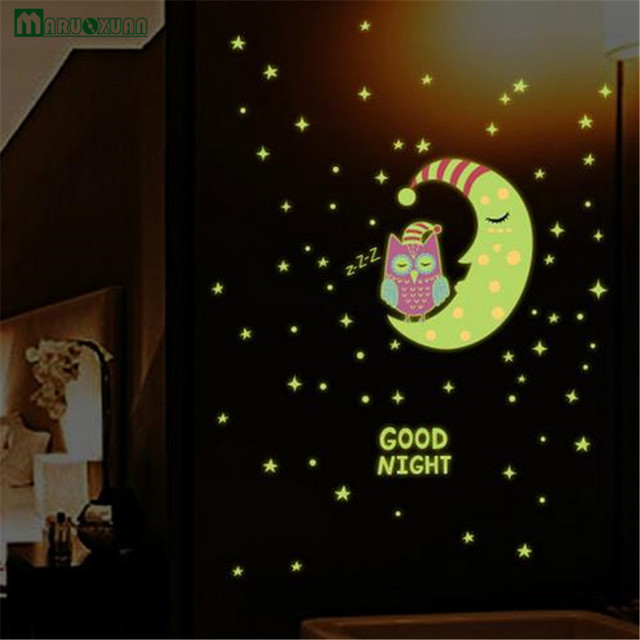 maruoxuan good night glow in the dark owl moon star combination