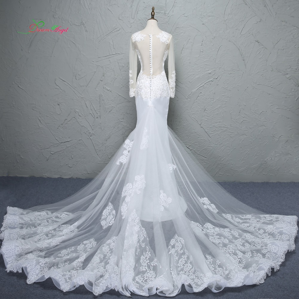 27289d3260f28 Loverxu Glamorous Appliques Detachable Train Mermaid Wedding Dress ...