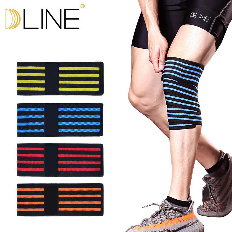 1PC Knee Wraps Fitness WeightLifting Leg Compression Straps 180*8CM Elastic Bandages Poverlifting Squats Training