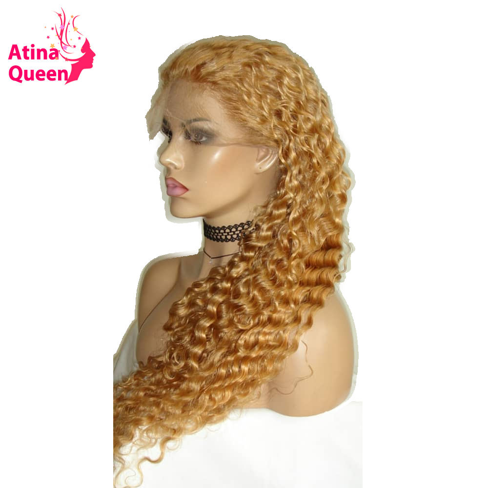 Honey Blonde 27 250 Density Lace Front Human Hair Wigs for Women Atina Queen Brazilian Curly