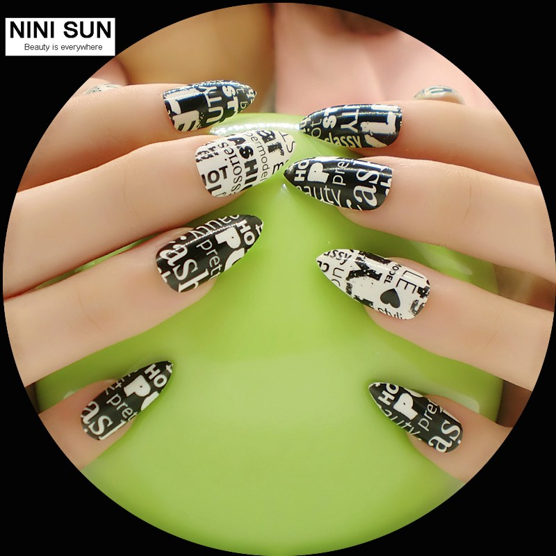 2016 stiletto nail art nuevo producto 24 unids tapa completa falso ...