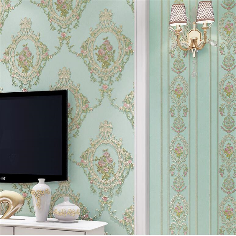 beibehang American garden non-woven wallpaper embossed mirror flower bedroom ab version living room TV background wall paper beibehang thick version of the vertical striped wallpaper warm living room bedroom pastoral non woven tv background wallpaper