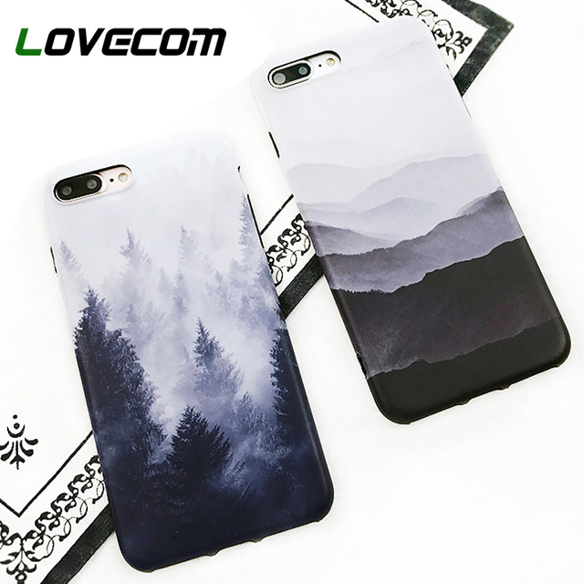 LOVECOM Vintage Mountain Forest Clouds Phone Case For iPhone XS Max XR XS 6 6s 7 8 Plus X Soft IMD Landscape Scenery Back Cover
