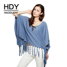 HDY Haoduoyi Brand Women  Blue Sweet Basic Tops Hem Tassel Casual Loose Chic T-shirt Autumn Sexy Batwing Sleeve Cape Tees
