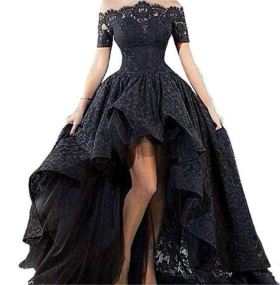 Elegant Black Wedding Dresses Off the Shoulder Lace Designer High Low Ball Gowns short Front Black