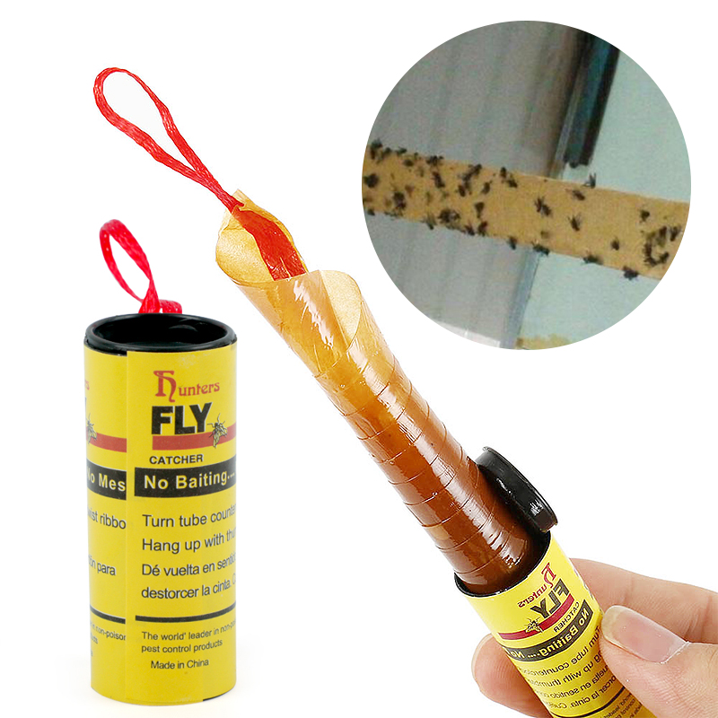 4 Rolls Fly Glue Paper Pest Control Housefly Killer Insect Bug Catcher Trap Ribbon Strip Sticky Fies Summer Tools-in Traps from Home & Garden
