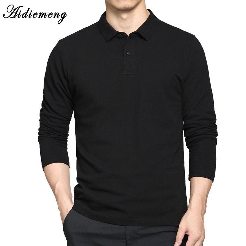 Polo Chemises Hommes 2018 Automne Respirant Coton Polo Chemises Hommes Manches Longues Casual T-shirt Masculinas Plus La Taille Polos Sweat