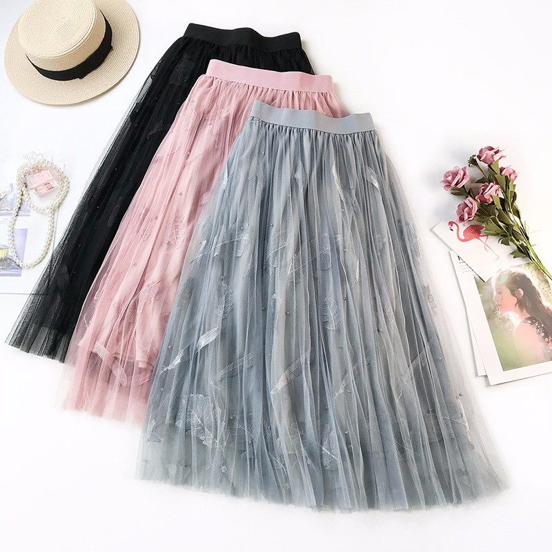 GUMPRUN Summer New WomenHigh Waist Embroidered Gauze Skirt  Fashion Elegant Long Pleated Color Casual