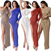 Sexy Women One Shoulder Knitting Dress Hollow out Summer Beach Party Club Long Dresses High Split Robe De Plage