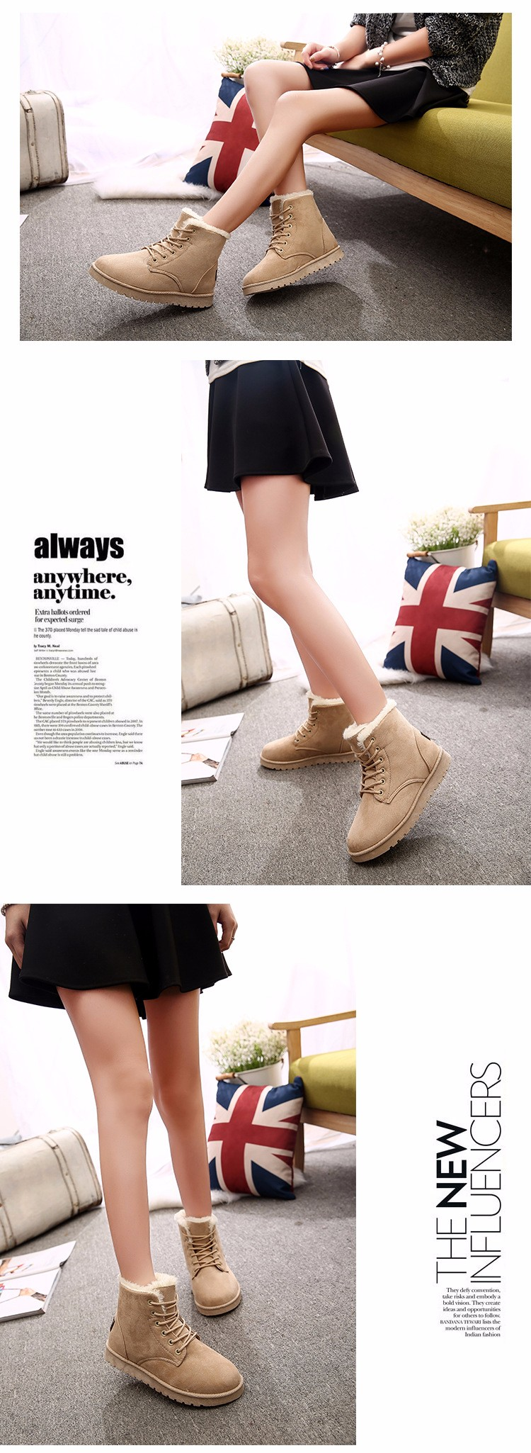 2016 Winter Woman Boots Lace-up Solid Flat Ankle Boots Casual Round Toe Woman Shoes Fashion Warm Plus Cotton Shoes ST903 (5)
