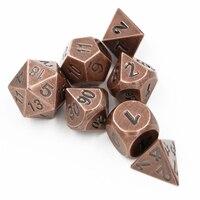 7pcs/sets Creative RPG Dice D&D Metal Dice Ancient Red Copper DND Game Dice