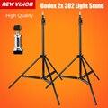 2 unids godox 302 200 cm soporte de luz trípode de 1/4 tornillo de cabeza con soporte de la lámpara trípode de cámara flash bracket