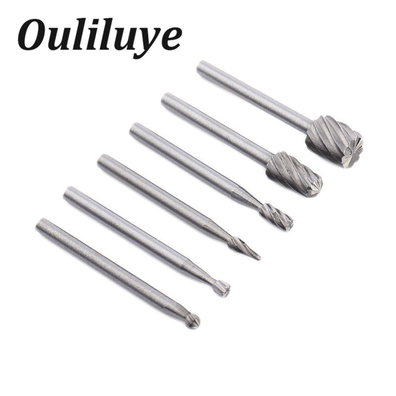 Mini Multi Drill Bits HSS Wood Rotary Burrs Milling Cutter Set 6PCS For Dremel Tools Accessories For Woodworking Carving Tool