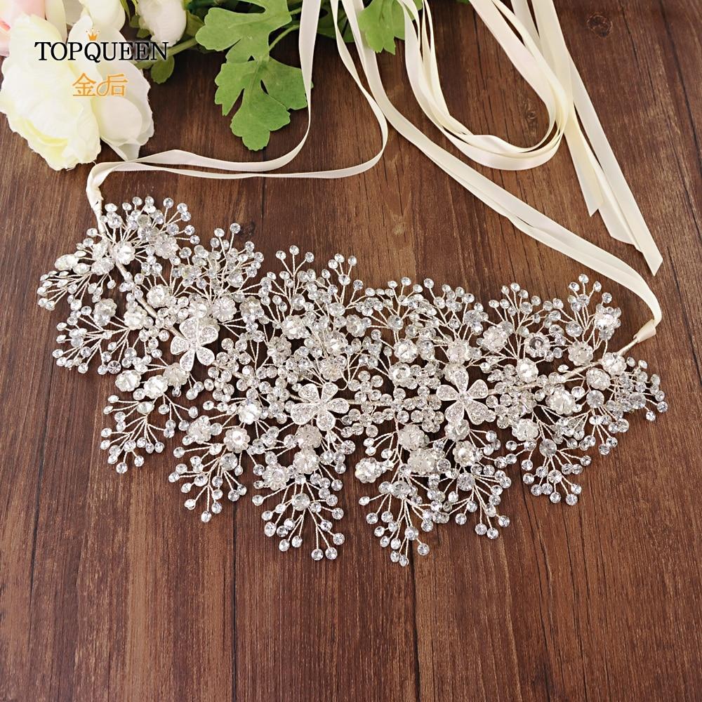 TOPQUEEN SH240 Wedding Flower Belt Silver Skinny Bridal Sash Belt Rhinestone Belt Wedding Dress Accessories Wedding Dress Belt
