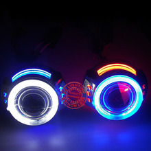 3.0inch H1 H4 H7 H11 9005 9006 Bi-Xenon projector lens for auto headlight with double CCFL angel eyes demon eyes