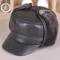 Men S Winter Fur Sheepskin Earmuffs Flat Hat Old Leather Cap