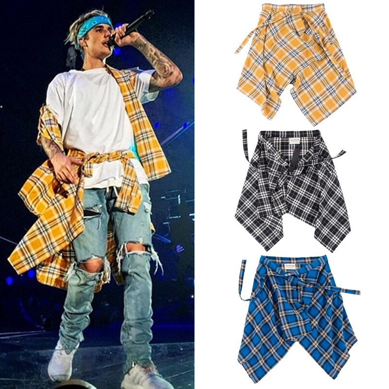 Scottish Plaid Shorts Skirts Men Irregular Hemline Justin Bieber Hip Hop Tartan Skirt Urban Streetwear Dance Skirts Multi Colors