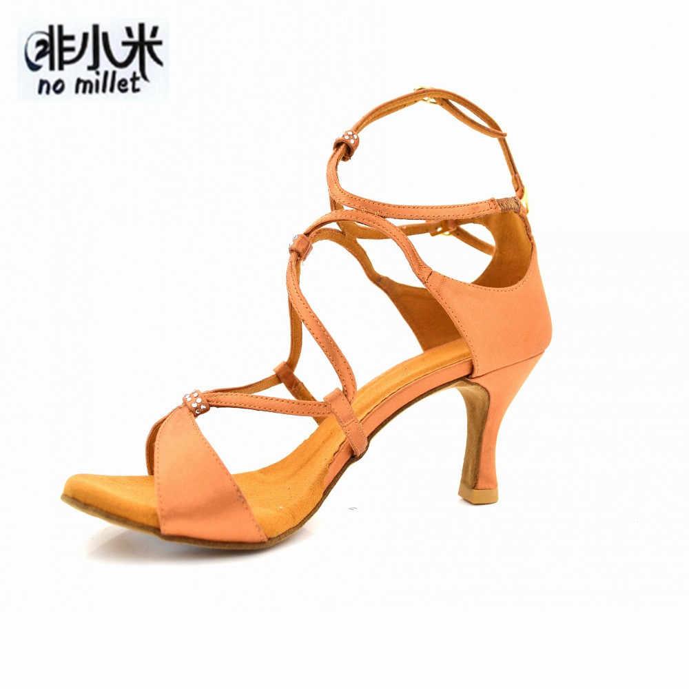 No Millet Latin Salsa Bachata Shoes Performance Sparkly Dancing Shoes Tan  7cm Heel Ballroom Dance Shoes bcd2292abd0d