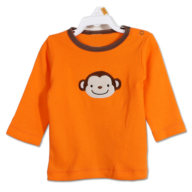 2016 New 5 pieces/Lot Baby Girls Boys T-shirt Long Sleeve Cotton T-shirt Cute Baby Clothes Infant Kids Baby T-Shirt V30