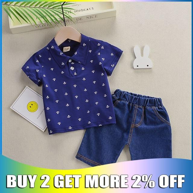 Bibicola Baby Boy Roupas de Verão Definido para a Criança Infantil Turn-down Collar Manga Curta Camiseta + Shorts Menino Terno 1 2 3 4 5 anos
