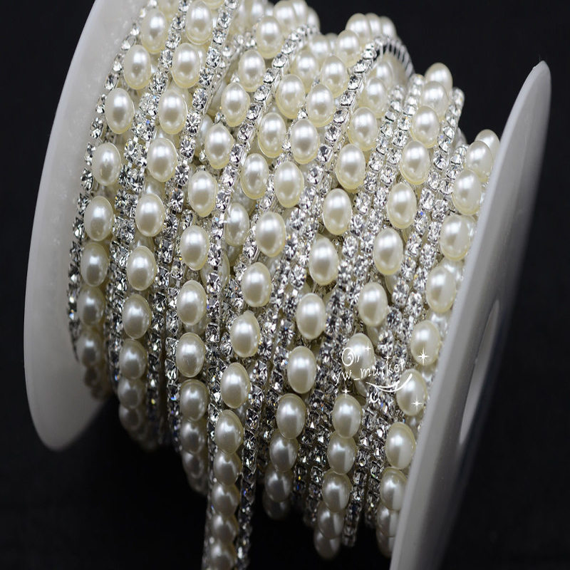 Pearls Crystal Rhinestone Applique Strass Trims Arms / Gold Base Sewing Accessories 1 Yard Wedding Decorations