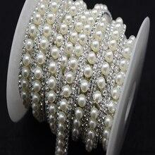 free shipment costume pearls rhinestone applique trims silver  base sewing accessories  1 yard