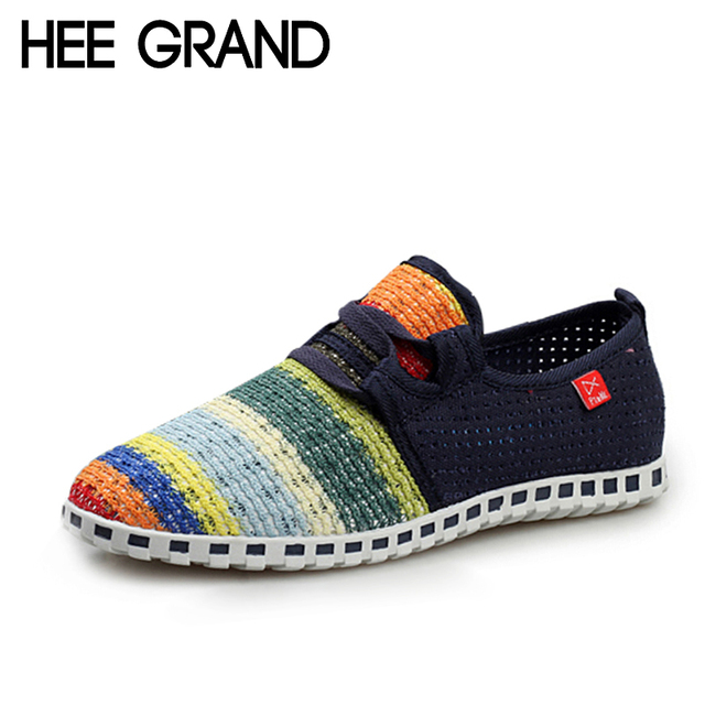 HEE GRAND Summer Casual Shoes Man Comfortable Breathable Outdoor Men Shoes Lace-Up Flats For Unisex Lover Flat Shoes XMF263