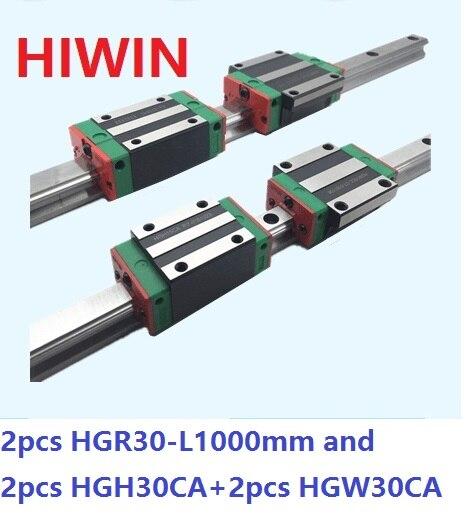 2pcs 100% original Hiwin linear rail HGR30 -L 1000mm + 2pcs HGH30CA and 2pcs HGW30CA/HGW30CC linear block for CNC router 2pcs 100