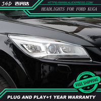 AR укладки для Ford Kuga фары U глаза ангела DRL 2013 2015 для Ford Kuga свет ДРЛ бар Q5 би ксенон объектив H7 Xenon
