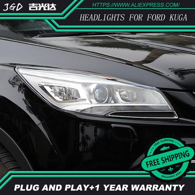 ar styling For FORD KUGA headlights U angel eyes DRL 2013-2015 For FORD KUGA LED light bar DRL Q5 bi xenon lens h7 xenon