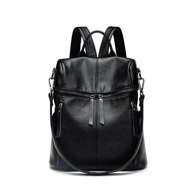 9e3513c4b2d9 ... Новое поступление женский черный рюкзак из натуральной кожи женские  сумки Дизайнерские повседневные из натуральной кожи рюкзак ...