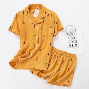 Image 4 - Women Pajamas Set Summer Comfort Gauze Cotton Turn down Collar Sleepwear Set Ladies Thin Loose Cartoon Carrot Printed Homewear