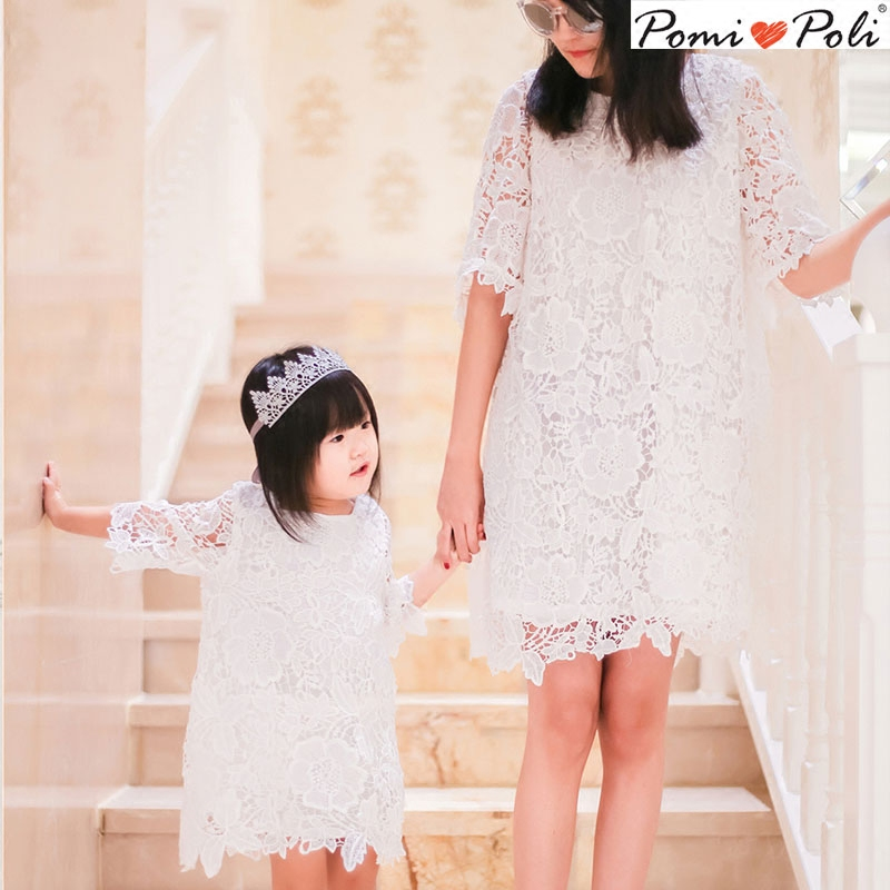 Mother Daughter Dresses Mother and Baby Girls Wedding Lace Clothes Parent-child Outfit Dress Mom Daughter Lace Princess Dress цены