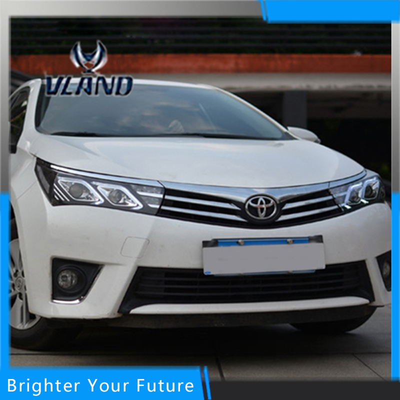 Vland Car Styling for Toyota Corolla Headlights 2014 2015 LED Headlight DRL Bi Xenon Lens High Low Beam Parking Fog Lamp