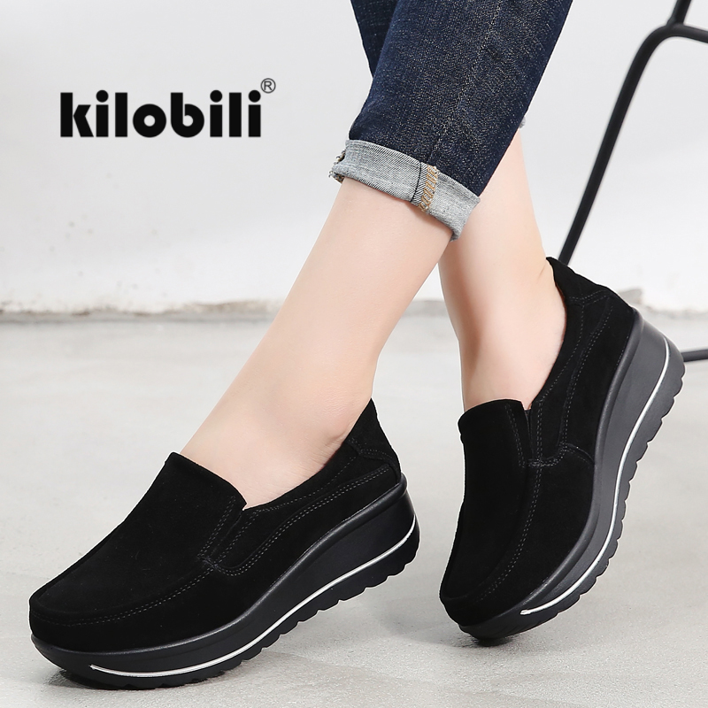 kilobili 2018 Autumn women flats shoes platform sneakers Ladies suede leather casual shoes slip on flat