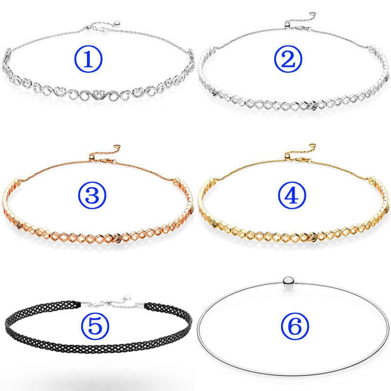 ceb26ca1f Honeycomb Shine Honeybee Heart Swirls Woven Fabric Choker Necklace For  Women Gift Pandora Jewelry 925 Sterling
