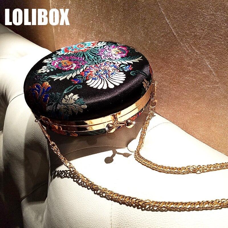 LOLIBOX Women Chain Shoulder Bags Satin Embroidered Vintage Ladies Evening Round Bag Women Crossbody Bag Purse