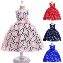 New Kids Gown Dresses for Girls in Spring and Summer Lace Dress First Communion with Bow Sash childs party dress