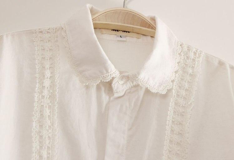 Preppy White Blouse Collection 13 Pattern Women Cotton Lace Crochet