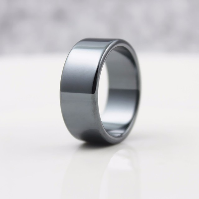 Fashion Jewelry Grade AAA Quality Smooth 4mm 6mm10mm Width Hematite Rings Made by Natural Stone (1 Piece/bag)