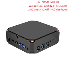 CK2 MINI PC Windows 10 bolsillo i7-7500U mini pc i7 computadora con licencia Intel Atom 4 K BT4.2 y 2,4G 5G WiFi RJ45 1000 M LAN minipc(China)