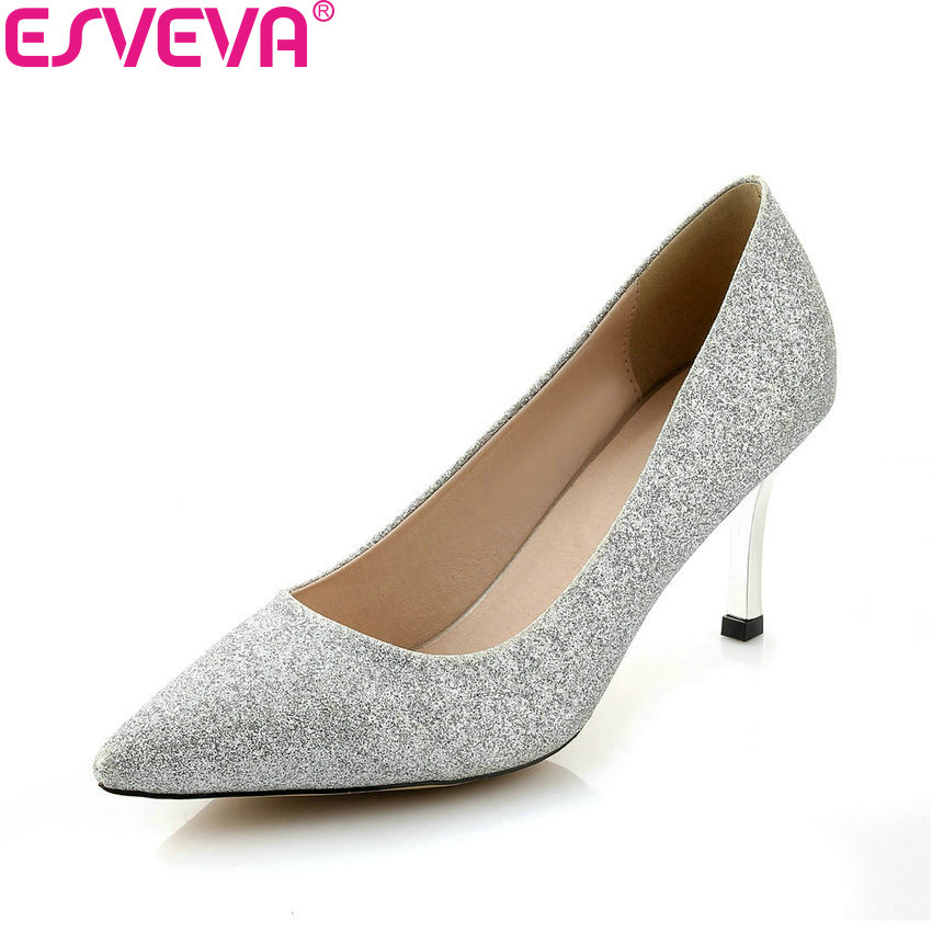 ESVEVA 2018 Women Pumps All Match Sexy Bling PU Elegant Slip on Thin High Heels Pointed Toe Party Ladies Pumps Shoes Size 34-43 new pu printing leather sexy print pumps ladies elegant pointed toe thin high heels slip on shoes women shoes large size 33 48