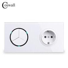 Coswall 흰색 유리 패널 EU 표준 벽 전원 소켓 + 3 갱 2 웨이 On / Off 통과 스위치 스위치 LED 표시기