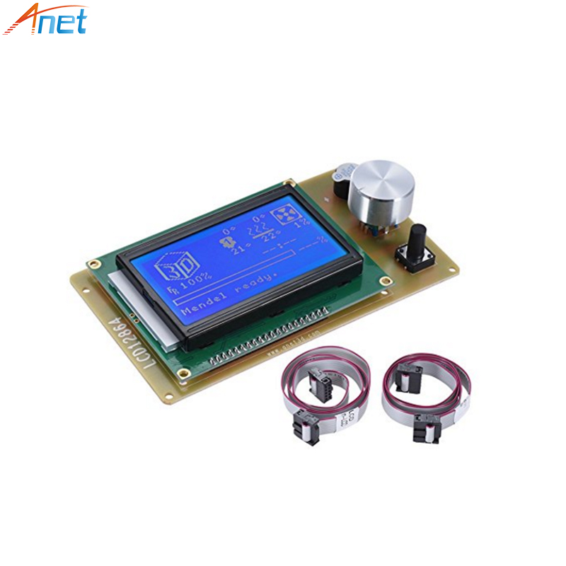 RAMPS1.4 LCD12864/2004 Display Control Panel Blue Screen 3D Printer Controller Motherboard For Anet A6 A8 3D Printer witn Cable bostanten wristlet split leather men wallets zipper coin purse holders design leather male wallet large capacity wallet for men