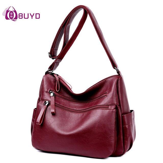 Women Leather Handbags Female Casual Shoulder Bags Ladies Shoulder Bag Design Zipper Hobos Women's Messenger Bags Bolsa Feminina