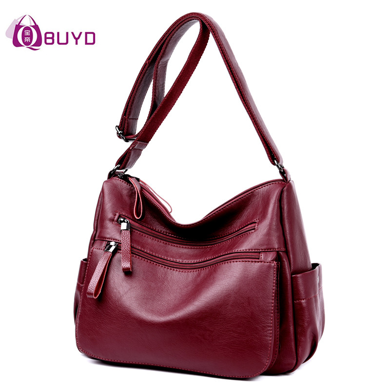 Women Leather Handbags Female Casual Shoulder Bags Ladies Shoulder Bag Design Zipper