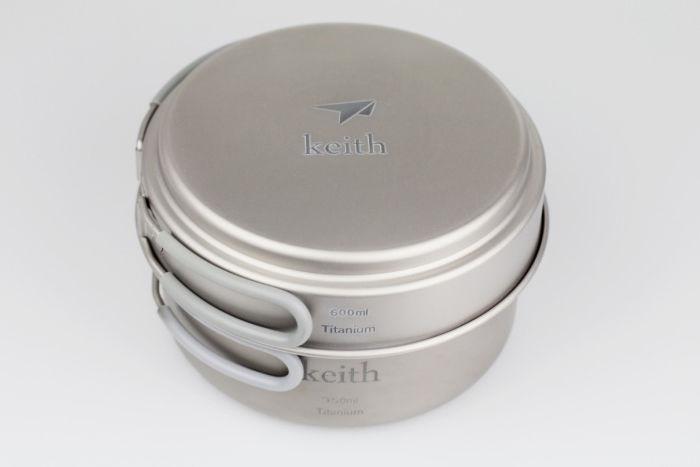 Keith Keith KP6016 Titanium 950ml big pot +600ml medium pot /pan for camping traving hunting keith kp6012 titanium pot