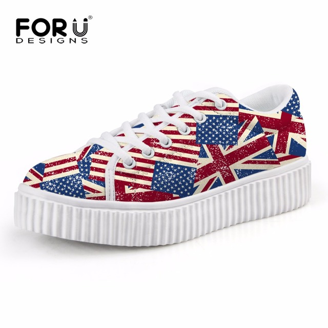 682e9abab32f Hot UK USA Flag Print Flats Shoes Women s Casual Creepers Shoes Platform  Girls Vintage Walking Thick Heel Flat Shoes Chaussures