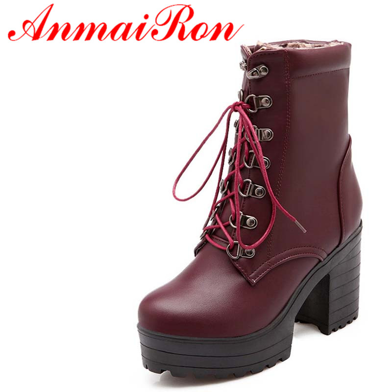 ANMAIRON Size 34-39 New Winter PU Leather Boots Fashion Round Toe Mid-Calf Boots Blue Red Black Women Shoes Boots zorssar 2018 new fashion women boots genuine leather zipper round toe mid heels womens mid calf boots autumn winter women shoes