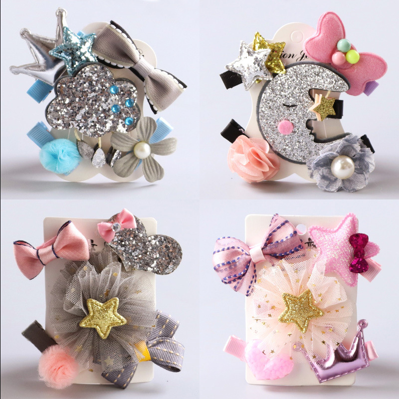 Fashion Hairpin Set 5pcs New Lovely Bows Hair Clips Kids Birthday Gift Flowers Headwear Safety Barrettes Girls Hair Accessories